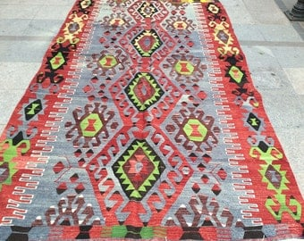 Kilim rug, vintage rug, turkish kilim rug, area rug, colorful rug, orange rug 11 x 6 ft