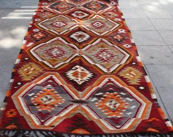 Orange vintage  turkish kilim rug - 12 x 4 ft