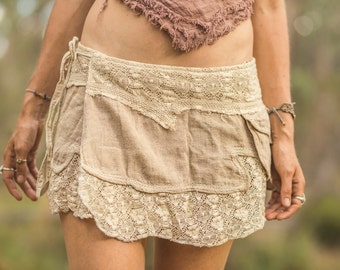 Lace and raw cotton mini gypsy skirt