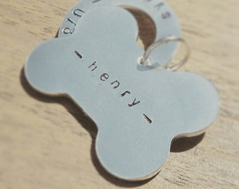 Bone Dog Tag with Washer- handstamped & totally personalised