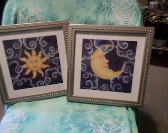 2 pictures Sun and Moon