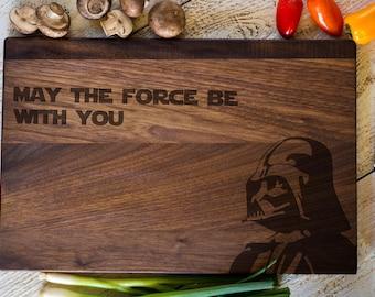 Star Wars Gift, Engraved Cutting Board, Personalized Darth Vader, Wedding Gift, Anniversary, Bridal Shower Gift, Kitchen Decor #3138