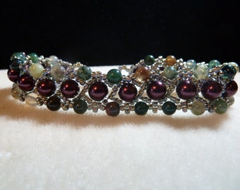 Chocolate Brown Pearl Woven Beaded Bracelet with Semi Precious Stones