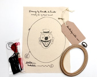 Red Clown - Art Embroidery Kit