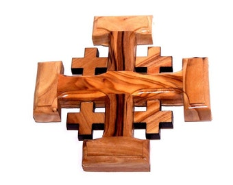 Bethlehem Olive Wood Wall Hanging Jerusalem Cross from the Holy Land