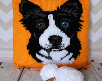 Knitting Pattern PDF Download - Border Collie/Sheepdog Pet Portrait Pillow Cushion Cover