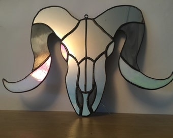 Ram skull stained glass/mirror