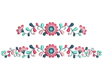 Floral border Machine embroidery design. 2 sizes. Instant download
