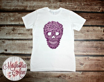 Magenta Floral Skull Head Graphic Women's Tee Sizes Small-4X