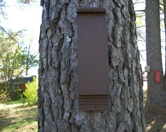 One Chamber, Handcrafted, Bat House Box, Painted Red or Brown, Pest and Mosquito Control. + Free Lure.