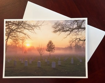 Photographic Greeting Card - Sunrise at Arlington National Cemetary - In Memoriam