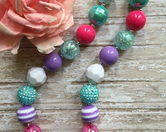 Girls chunky bubblegum necklace