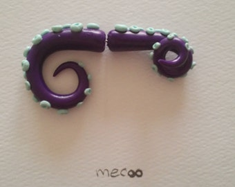 Tentacle fake plug - plum + mint