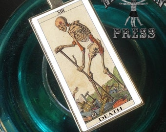 Tarot Card, Death, Funky Chunky Statement Pendant