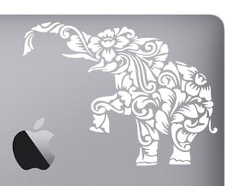 Floral Tribal Elephant Vinyl Sticker, Vinyl Decal