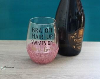 Glitter Wine Glass, Stemless Wine Glass, Glitter Stemless Wine Glass, Unique Wine Glass, Glitter dipped wine glass, Wine Gone Glass