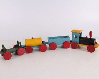 Antique Vintage Old Handmade Painted Wooden Train.