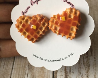 Heart Shaped Waffle Earrings