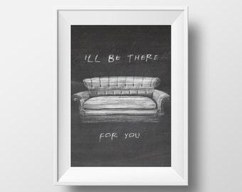Chalkboard Art Print Couch FRIENDS tv show,printable art, friends theme ,monica,chandler,ross,phoebe,rachel,joey,central perk,friends poster