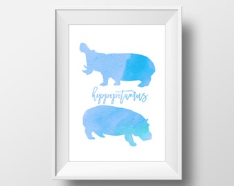 Wall Art Watercolor Hippopotamus Art Print,Nursery Print,Kids Room,Africa Savannah Animal,Wild Nature,Room Decoration,Kids Room,Minimalistic