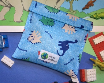 Reuseable Snack Bag, Certified Food Safe, Eco-friendly, One Layer, Kid-friendly, Easy Care, Velcro Closure, Dinosaur Fabric