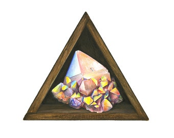 Aura Quartz Crystal in Wooden Triangle Box Art - Colored Pencil Print by Headspace Illustrations