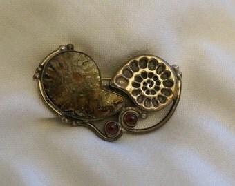 Unique Ammonite Fossil Brooch by Elysium Inc