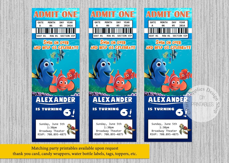 Finding Dory Movie Ticket Birthday Invitations ANY AGE