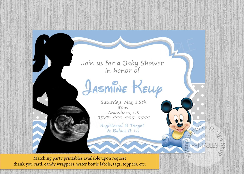 baby mickey shower invitaciones bebe Ultrasonido bebe ducha bebé Mickey invitaciones invitaciones