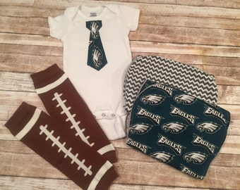 Baby Boy~Onesie/Burp Cloth Set~Philadelphia Eagles~Tie~Football Leggings~Minky~Baby Shower Gift