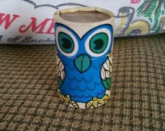 Vintage owl matchstick pot