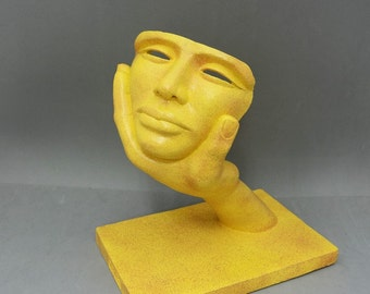 DOMINATION - original sculpture, decor object, gift item, yellow granite stone finish
