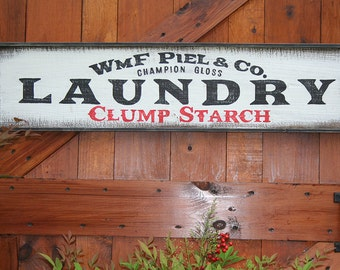 LARGE 3' Vintage Style Hand Painted LAUNDRY Wood Sign Wall Decor