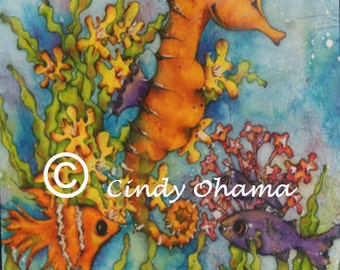 Batik Seahorse (Watercolor) by Cindy Ohama