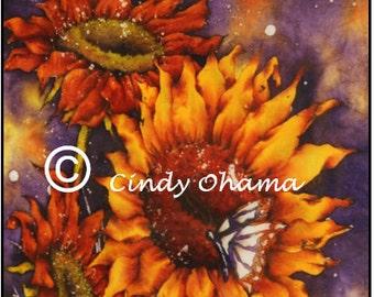 Batik Sunflowers (Watercolor) by Cindy Ohama