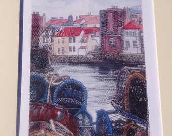 Whitby  - Limited Edition Digital Print of fabric collage & embroidery over digital print - 1 of 100