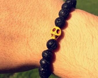 New Lava Rock Beaded Bracelet With Yellow Skull