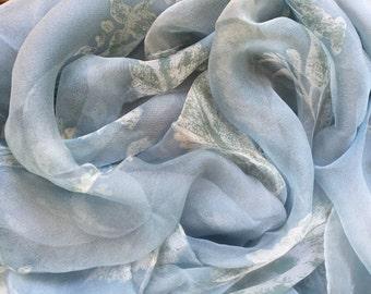 Vintage light blue botanical sheer scarf