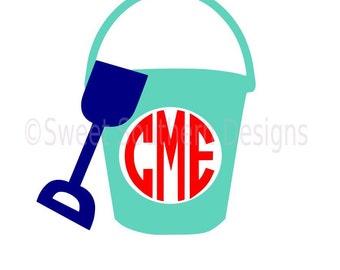 Monogram beach pail bucket shovel SVG instant download design for cricut or silhouette