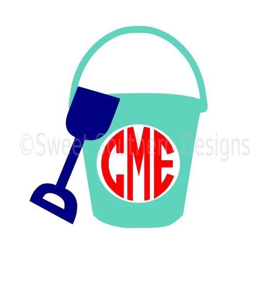 monogram beach pail bucket shovel svg instant download design