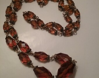 Antique Amber Glass Bead Necklace
