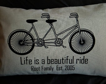 Life is a beautiful ride- bicycle pillow cover (pillow insert included)