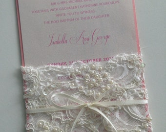 Rustic Pink Invitation - Lacey Pearl