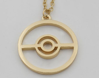 Gold-Plated Pokeball Necklace