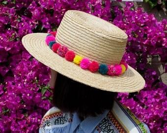 Pom Pom Straw Sun Hat