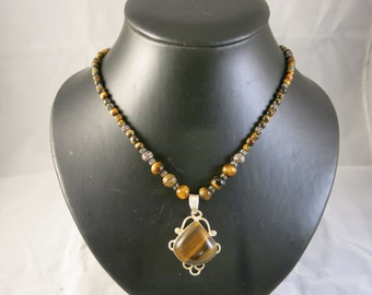 Tiger Eye Necklace on sterling silver mount