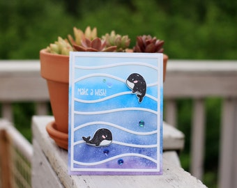 handmade birthday card greeting card whale and ocean