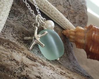 Handmade in Hawaii, Seafoam sea glass necklace,Sea star charm ,Natural  pearl, 925 sterling silver chain, gift box, Hawaiian jewelry .