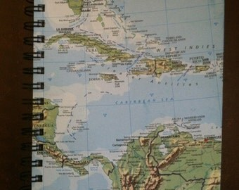 Travel Journal made from a discarded map