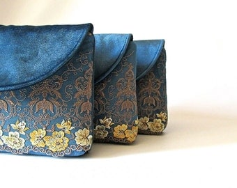 Floral Lace Clutch, Velvet Clutch, Bridesmaid Clutch Bag, Bridesmaid Gift, Evening Bag, Lace Clutch purse, Teal clutch, blue purse